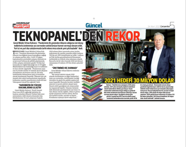 "Hurriyet Newspaper: ""A Record From Teknopanel"""