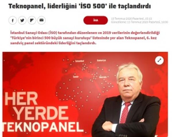 Haberturk.com - Teknopanel, Liderliğini 'İSO 500' ile Taçlandırdı.