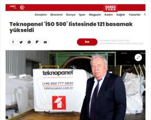 """Haberturk.com- """"Teknopanel 'İSO 500' Listesinde 121 Basamak Yükseldi"""""""