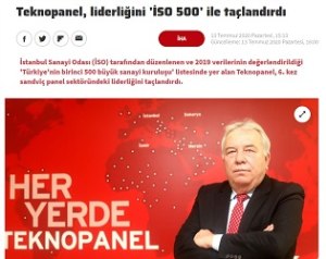 Haberturk.com - Teknopanel Crowned Its Leadership with 'ICI 500 List'