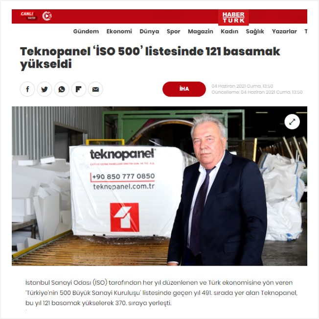 """Haberturk.com- """"Teknopanel Climbed 121 Rows Up in the List of """"ICI 500"""""""