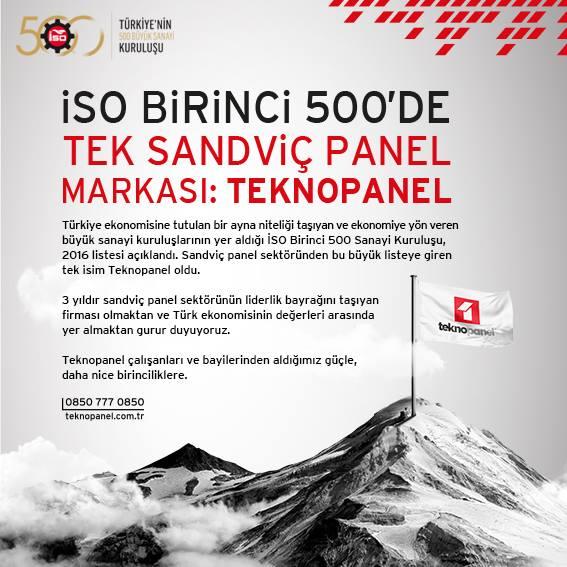 ISO Birinci 500'de Tek Sandviç Panel Markası: Teknopanel