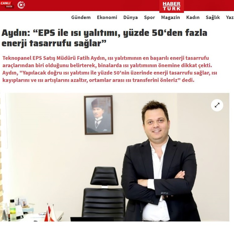 "Haberturk.com - Aydın: ""Energy Conservation over 50% in thermal insulation with EPS"""