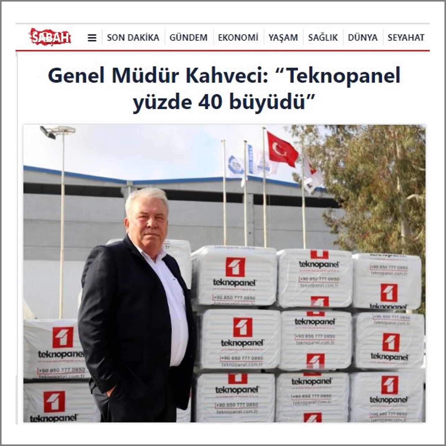 """Sabah com.tr-""""Teknopanel Yüzde 40 Büyüdü"""""""