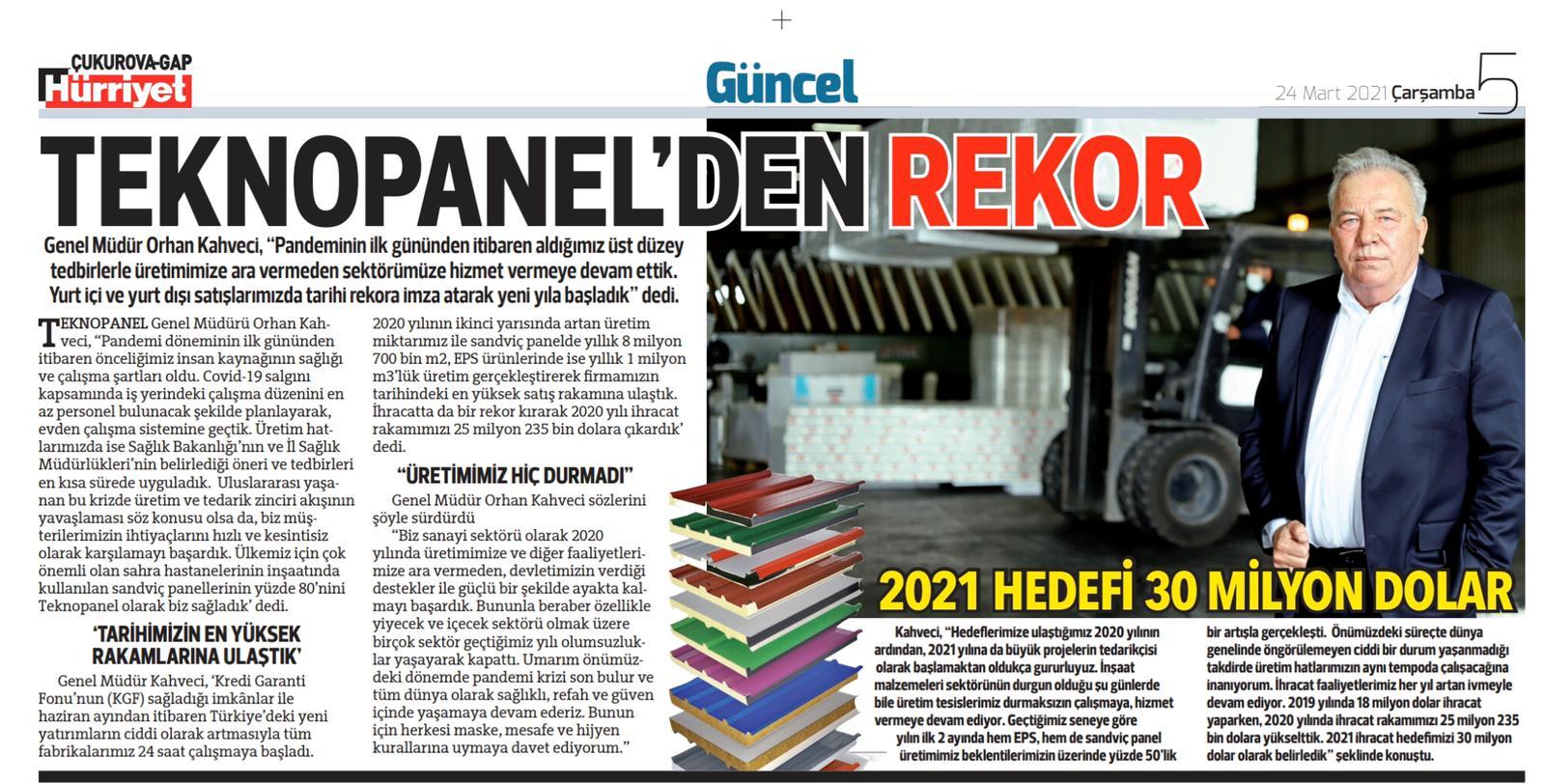"Hurriyet Newspaper: ""A Record From Teknopanel"""
