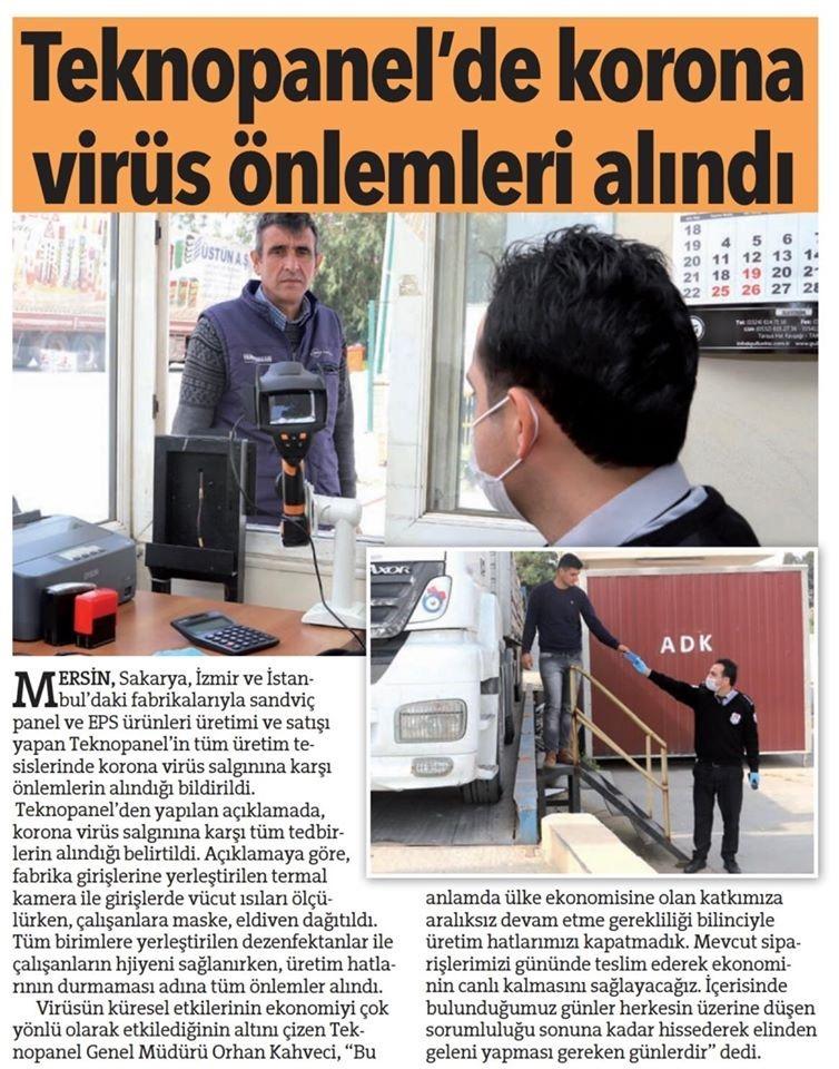 """Hürriyet Gazetesi - """"Teknopanel'de Korona Virüs Önlemleri Alındı."""""""