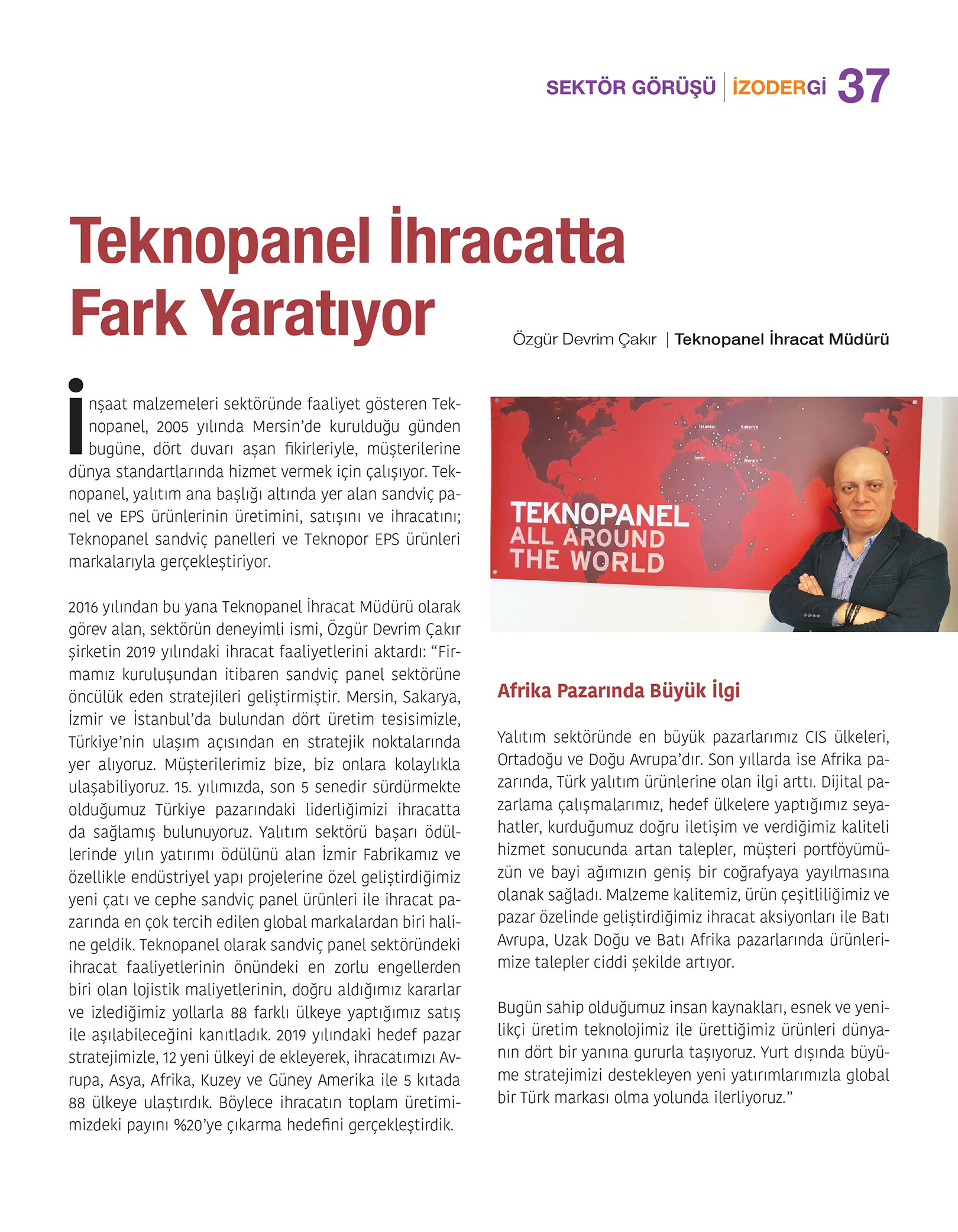 "İzodergi – ""Teknopanel Makes Difference in Exportation"""